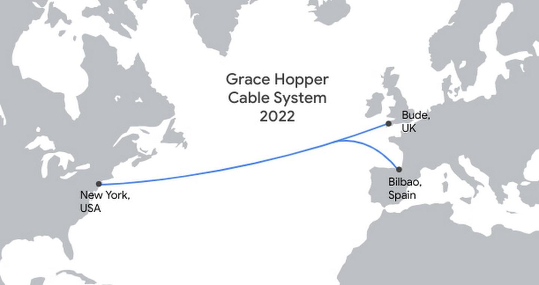 La ruta del cable submarino de Google